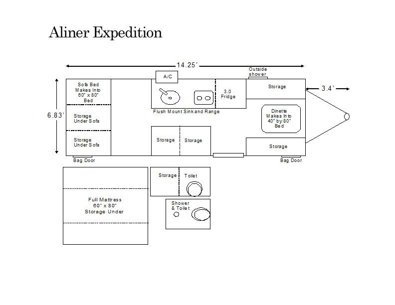 aliner expedition floor plan - Pop Up Campers